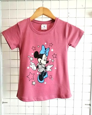 T-Shirt Short Sleeve MINNIE STAR FADED PINK: Size 1y-6y (1 - 6 tahun) RS