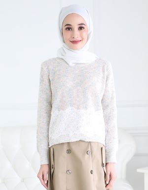 MISHA KNITTED LACE TOP IN BEIGE
