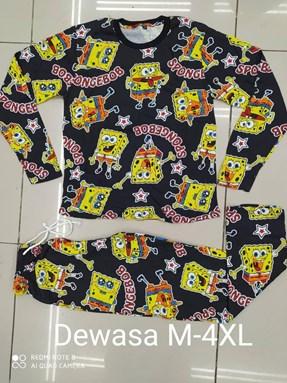 Pyjamas  SPONGEBOB BLACK EDITION: Size DEWASA M- 4XL