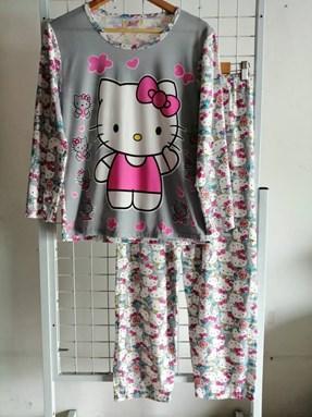Pyjamas Dewasa Hello Kitty Grey Flower Love