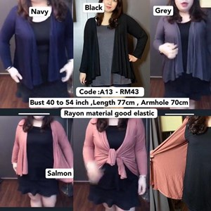 A13 *Ready Stock *Bust 40 to 54 inch  / 101- 137cm