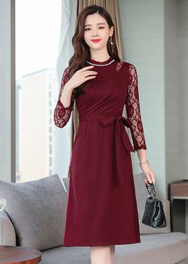 Wrapped Long-Sleeve Dress