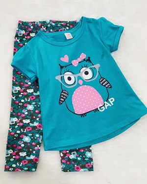 Girl Set Turquoise Owl With Pant (9/12m - 4y)