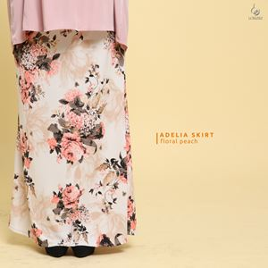 Adelia Skirt Printed : Floral Peach