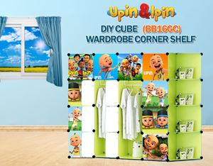 NEW Upin & Ipin GREEN 16C DIY Wardrobe with Corner Shelf (BB16GC)