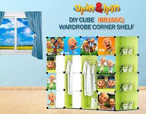NEW Upin & Ipin GREEN 16C DIY Wardrobe with Corner Shelf (BB16GC)