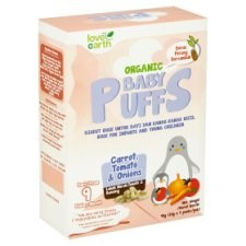 Love Earth Organic Baby Puffs Carrot, Tomato & Onions from 9 Month 4 Packs x 10g (40g)
