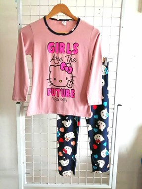Pyjamas PLAIN HELLO KITTY GIRLS FUTURE Peach - Long Sleeve (Dewasa) 2XL