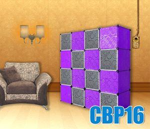 PLAIN CHECKER PURPLE BLACK 16C DIY WARDROBE (BP16)