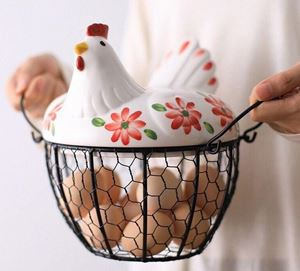 CERAMIC CHICKEN EGG BASKET - A