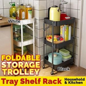 FULL STEEL 3 Tier FOLDABLE Multi-functional Metal Trolley Storage Rack with Handle Tier Trolley Storage