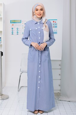 VAXSINA DRESS DENIM BLUE