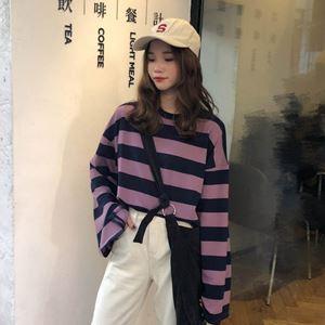 Split Long Sleeve Stripe Shirt