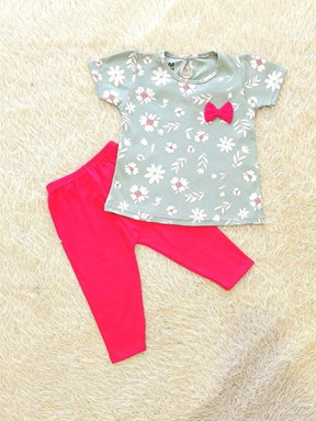 [SIZE 12/18M] Baby Girl Set : WHITE FLOWER MINT GREEN WITH HOT PINK PANT (12m - 36m) SDM