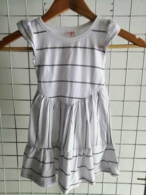 Princess Dress V2 : WHITE WITH STRIPES  , size 2-4