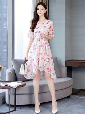 V-neck Fairy Floral Chiffon Dress