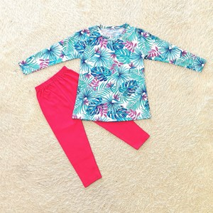 [SIZE 3/4Y - 5/6Y] Girl Set Long Sleeve : TROPICAL TURQUOISE WHITE WITH HOT PINK PANT (3y - 8y) SPG