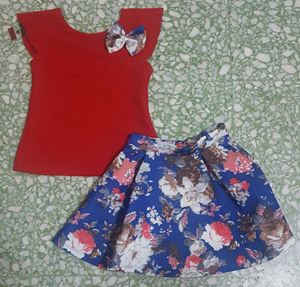 SKATER SKIRT  SET 012   ( RED TOP BLUE SKIRT )