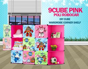 RoboCar Poli Pink 9C DIY Cube w Corner Rack (PL9PR)