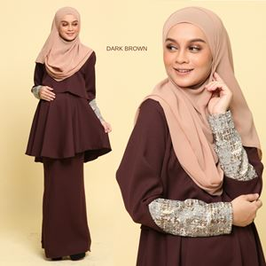 Peplum Eleanor Brocade : Dark Brown