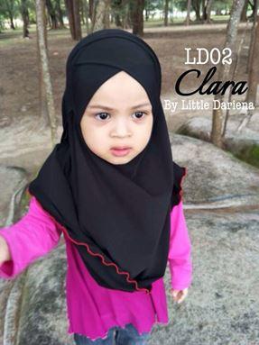 CLARA Instant Shawl - LD02 ( Black ) +Free Pin Tudung
