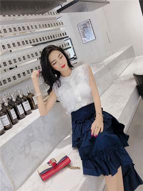 Knit Top + Irregular Split Ruffle Skirt