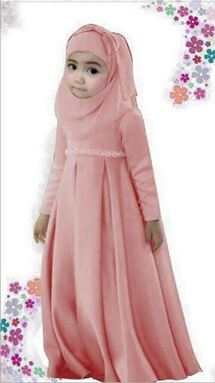 Dress Jubah Kids + Tudung Beriben - Peach - S0039