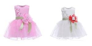 Sleevesless Floral Princess Dress With Ribbon