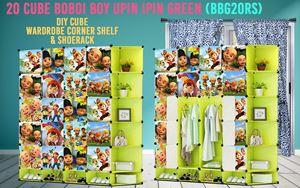 Boboiboy & Upin Ipin Green 20Cube DIY Cube w Corner Rack & Shoerack (BBG20RS)