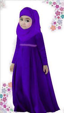 Dress Jubah Kids + Tudung Beriben - Dark Purple - Big size