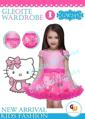 @  GW 245 DRESS  { I ~ KITTY PINK }  ( SZ 2Y - 13Y )
