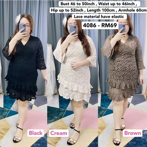 4086 * Ready Stock * Bust 46 to 50inch / 117 - 127cm