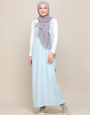 SOPHIA OVERALL DRESS IN POWDER BLUE