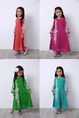 @  2017 COOL ELVES JUBAH RAYA - GREEN / PINK / RED / TURQOIUSE ( SIZE 1Y-12Y )