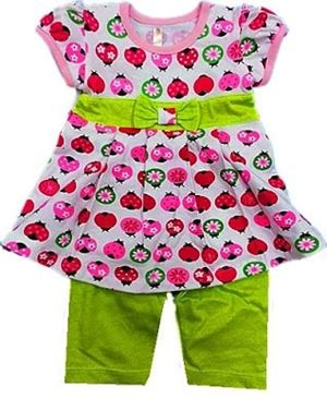 BABY GIRL SET - LADYBIRDS GREEN PANT SET