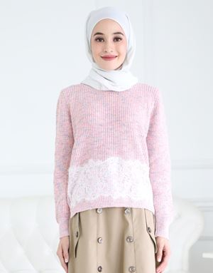 MISHA KNITTED LACE TOP IN SOFT PINK