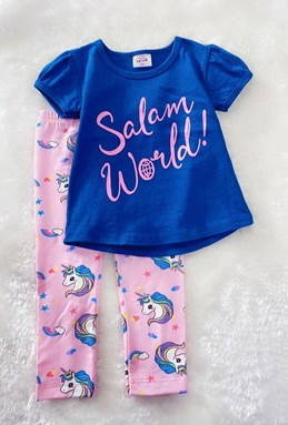Girl Set Navy Blue Salam With Pink Unicorn Pant (2y - 5y)