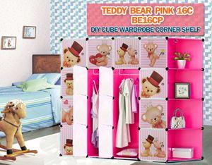 Teddy Bear PINK 16C DIY CUBE WARDROBE w CORNER RACK (BE16CP)