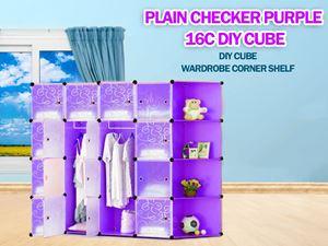 Plain Purple 16C DIY Cube w Corner Rack (PP16CR)
