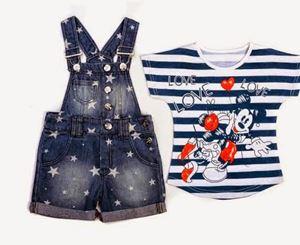 Mickey Overall Stripes Set - T shirt+Denim overalls - 2pcs set
