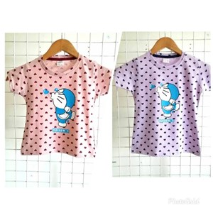 T-Shirt Short Sleeve DORAEMON LOVE : Size 1y-8y (1 - 8 tahun) KW