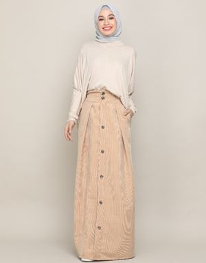 MANDY CORDUROY SKIRT IN BROWN