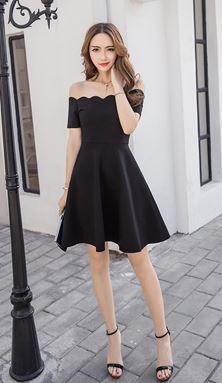 Wave Off-Shoulder Slim A Word Dress