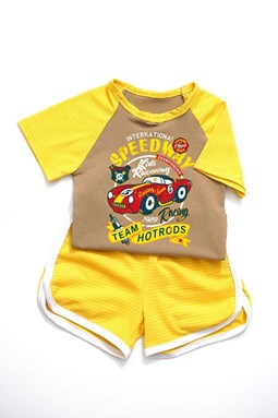 J & Y CASUAL SPORT SETS - YELLOW  SPEEDWAY RED CAR   ( SIZE 2-7Y )