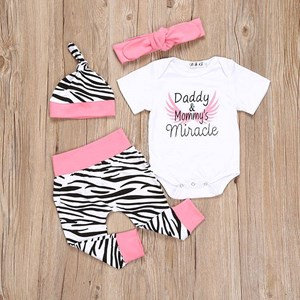 Pink Daddy & Mommy's Miracle 4pcs Romper Set