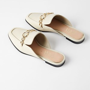 Nude Beige Sheepskin Muller Shoes Moccasin Flat Shoes