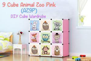 Animal Zoo 9 Cube Pink DIY Wardrobe (AZ9P)