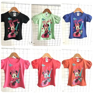 T-Shirt Girl Short Sleeve Minnie Mouse Cat: Size 2-8 (1 - 6 tahun)