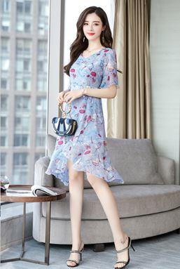 Irregular Length Floral Chiffon  Dress