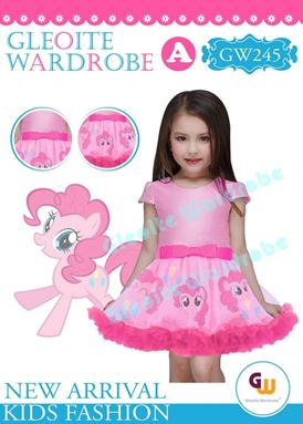 @  GW 245 DRESS  { A ~ PONY PINK }  ( SZ 2Y - 13Y )